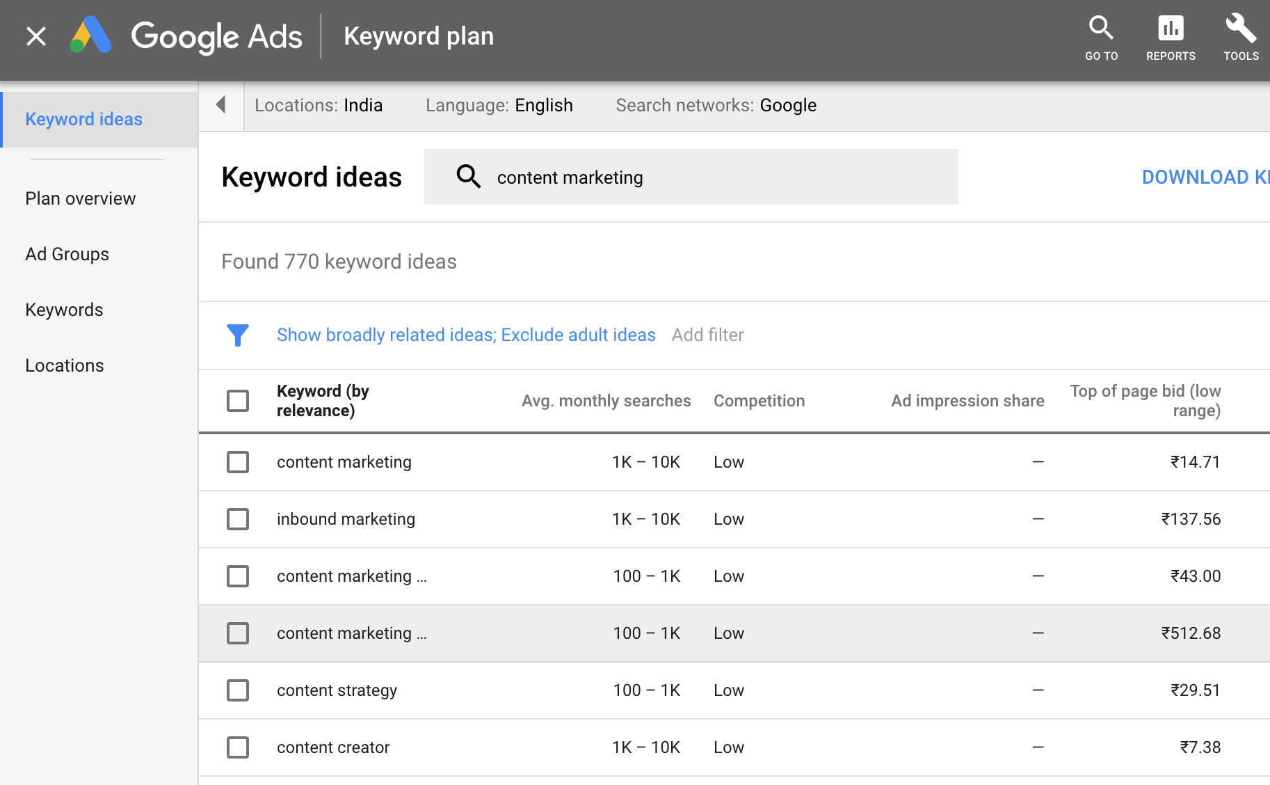 content marketing tools keyword planner