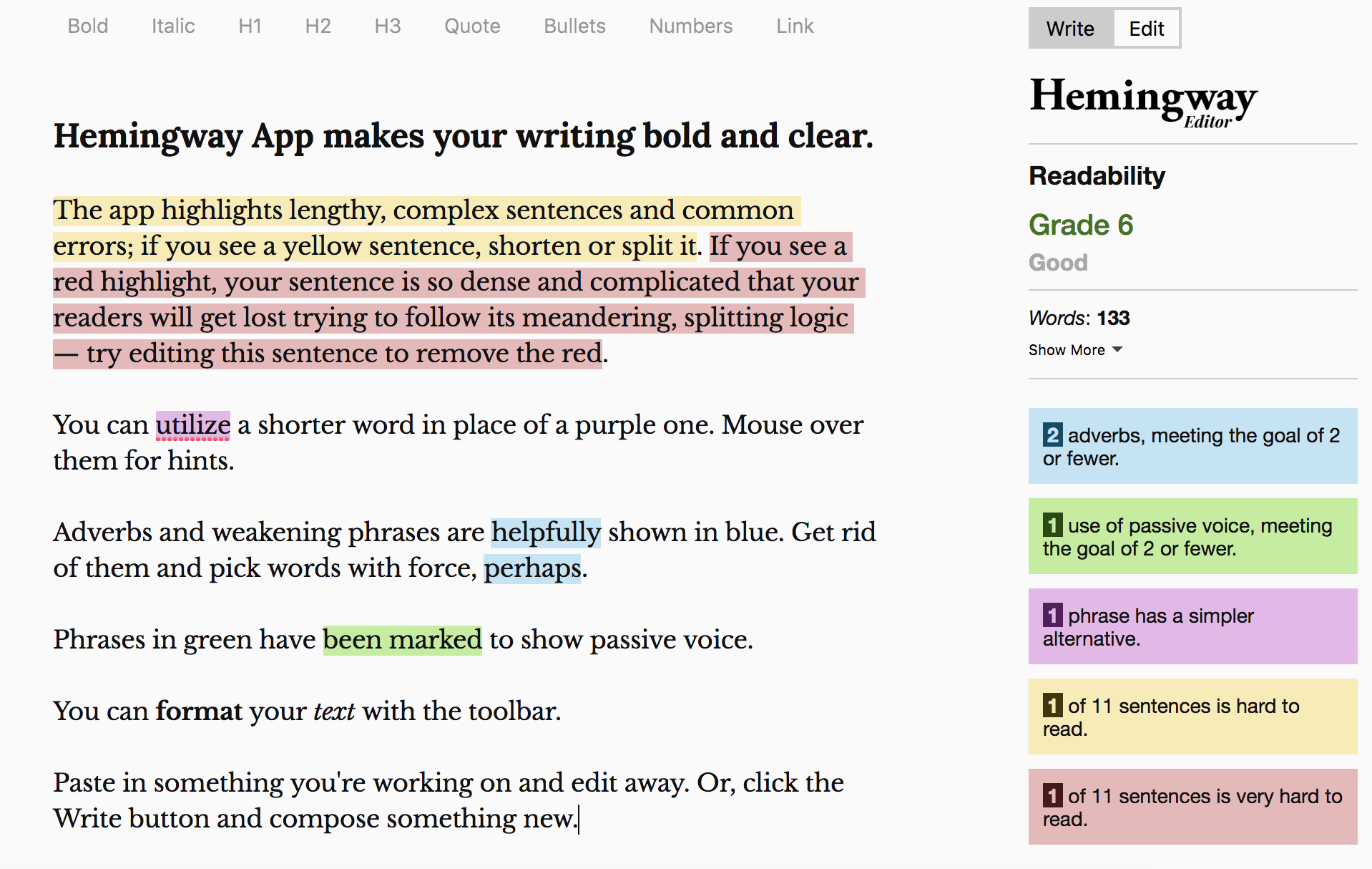 content marketing tools hemingway