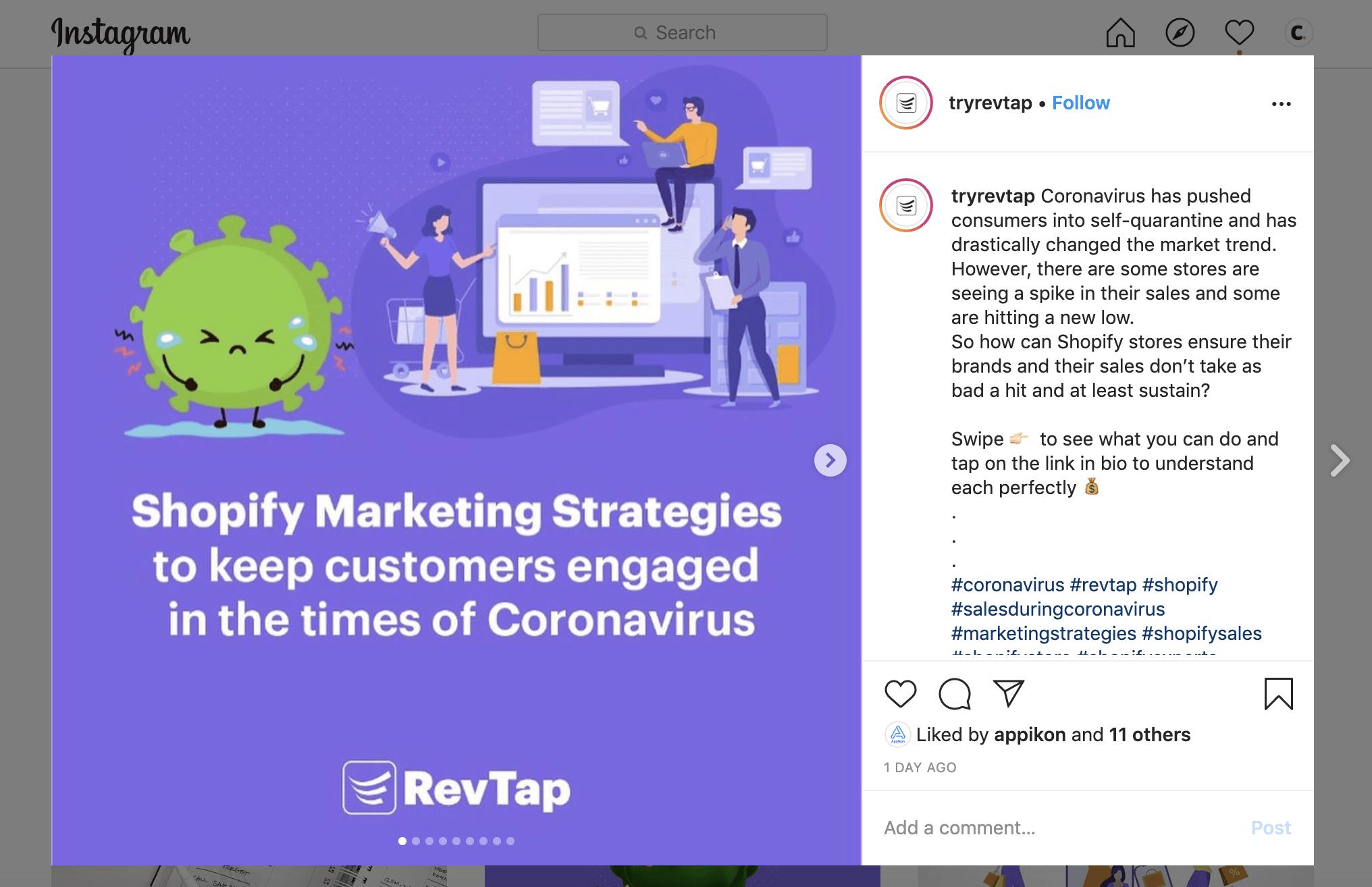 shopify apps revtap social media